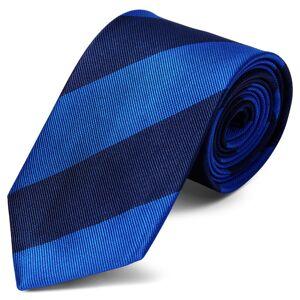 Trendhim Silkeslips med Marineblå og Kongeblå Striber 8 cm