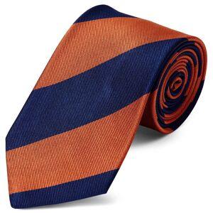 Trendhim Silkeslips med Marineblå og Orange Striber 8 cm