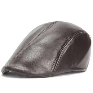 Newchic Mens Vintage PU Leather Solid Beret Cap Casual Newsboy Golf  Comfortable Cabbie Hat Forward Cap d204164c3af3