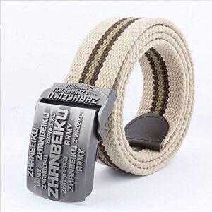 7444156193767 NSXLSCL Militärt tygbälte personliga bokstäver metallspänne taktiskt bälte unisex vardaglig utomhus randvävda arbetsbälten för män och kvinnor sport midjerem, khaki, 130 cm