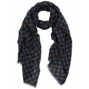 Altea Medallion Printed Wool Scarf Blue
