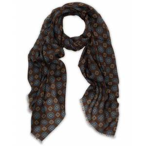 Altea Medallion Printed Wool Scarf Brown