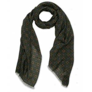 Altea Medallion Printed Wool Scarf Green