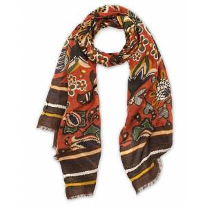 Altea Flower Printed Wool Scarf Orange