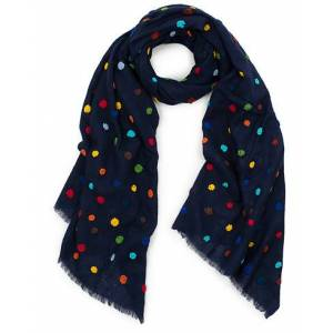 Altea Colour Embroided Flower Scarf Navy