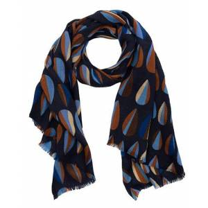 Altea Printed Wool Scarf Navy