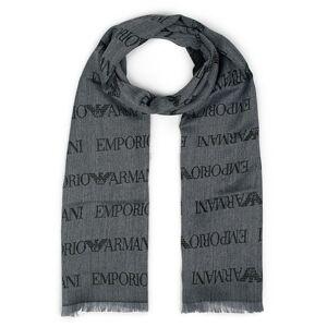 Giorgio Armani Emporio Armani Wool All Over Logo Scarf Grey