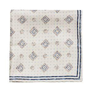 Brunello Cucinelli Micro Pattern Silk Pocket Square Beige