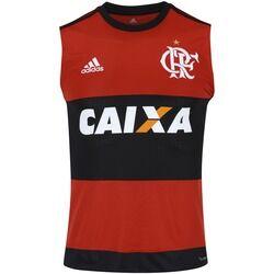 adidas Camiseta Regata do Flamengo I 2017 adidas com Patrocínio - Masculina - PRETO/VERMELHO