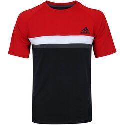 adidas Camiseta com Proteção Solar UV adidas Club Colorblock TD - Masculina - PRETO/VERMELHO