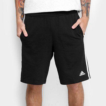 Bermuda Adidas Essential 3S Coft Masculina - Masculino-Preto+Branco