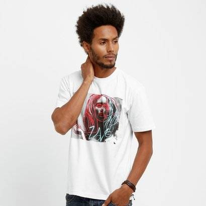 Camiseta Live Girl Smoking - Masculino-Branco