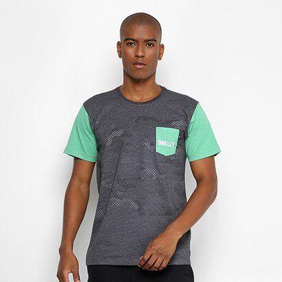 Camiseta Oakley Especial Mod Highest Camo Block SP Masculina - Masculino-Grafite