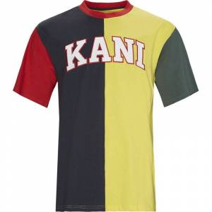 Karl Kani College Block Tee Navy/gul S Navy   Gul