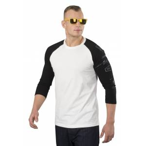 Dainese T-Shirt Dainese Thunder72 3/4 Ærmer, Hvid/Sort