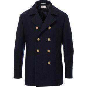 Brunello Cucinelli Double Breasted Wool Coat Navy men 52 Blå