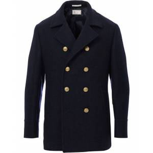 Brunello Cucinelli Double Breasted Wool Coat Navy men 50 Blå