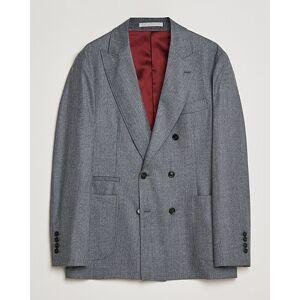 Brunello Cucinelli Super 120s Flannel DB Blazer Grey Melange men 52 Grå