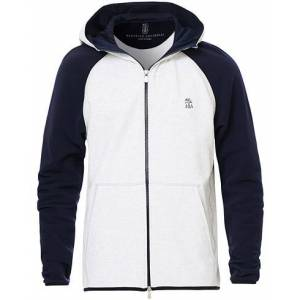 Brunello Cucinelli Double Stretch Cotton Hooded Sweater Grey/Navy men L Grå