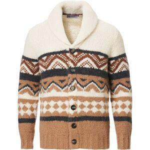 Brunello Cucinelli Alpaca Shawl Collar Cardigan Brown/White men 50 Hvid