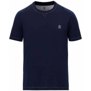 Brunello Cucinelli Short Sleeve Logo T-Shirt Dark Blue men S Blå