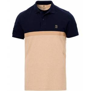 Brunello Cucinelli Colour Block Short Sleeve Polo Navy/Brown men L Blå