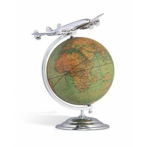 Authentic Models On Top Of The World Globe and Plane Silver men One size Sølv