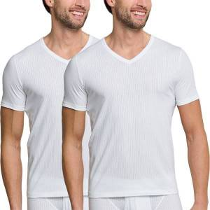 Schiesser 2 pakkaus Authentic Short Sleeved Shirts V-neck - White  - Size: 145372 - Color: valkoinen