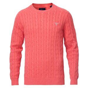 Gant Cotton Cable Crew Neck Pullover Dark Pink