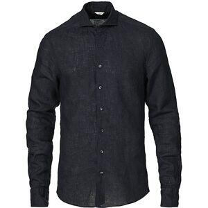 Stenströms Slimline Linen Cut Away Shirt Navy