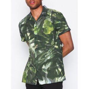 Selected Homme Shxtwocorey-Cuban Shirt Ss Aop Skjorter Lys grønn