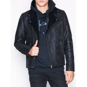 Selected Homme Slhray Leather/Wool Biker Jkt W Jakker Svart