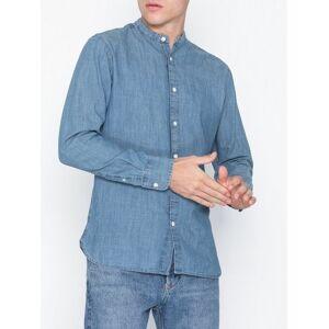 Selected Homme Slhslimnolan-China Shirt Ls W Skjorter Lys blå