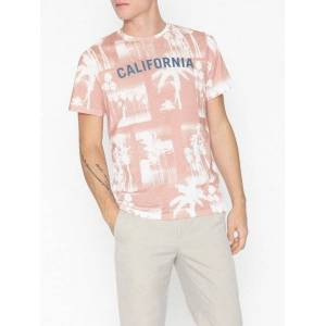 Jack & Jones Jormonochrome Palm Tee Ss Crew Neck T-skjorter og singleter Rosa