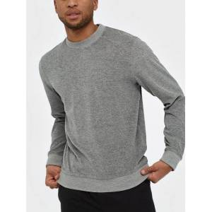Selected Homme Slhcleve Crew Neck Sweat B Gensere Lys grå