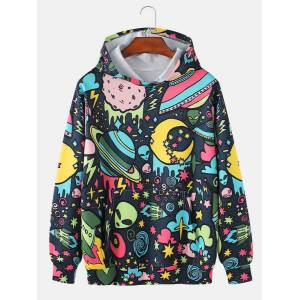 Newchic Mens Allover Cartoon Galaxy Element Print Loose Fit Casual Drawstring Hoodies With Pocket