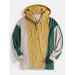 Newchic Mens Corduroy Colorblock Patchwork Button Hoodies With Kangaroo Pocket