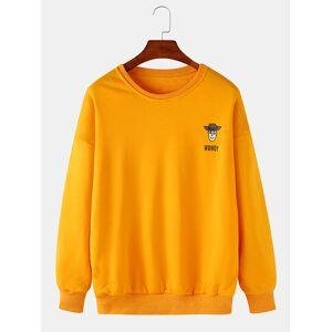 Newchic Mens Cartoon Letter Print Crew Neck Drop Shoulders Loose Casual Sweatshirts