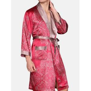Newchic Silk Sexy Home Printing Pajamas with Belt Long Sleeve Robe for Men