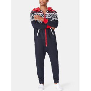 Newchic Men Contrast Color Paisley Printing Hooded Jumpsuits Warm Zipper Down Loungewear Onesies