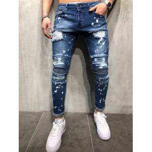 Newchic Men Skinny Solid Ripped Washed Jeans