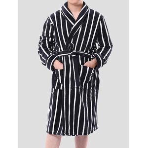 Newchic Men Flannel Winter Warm Casual Striped Nightgown Belt Lounge Robe