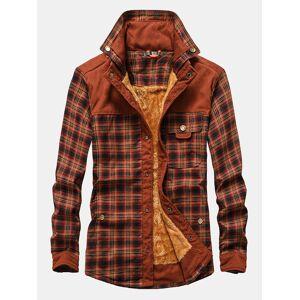 Newchic Mens Plaid Patchwork 100 % Cotton Fleece Lined Thick Lapel Reversible Shirts