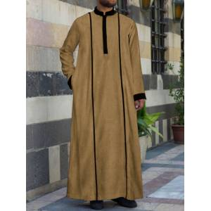 Newchic Mens Casual Vintage Stand Collar Long Tops Pure Color Patchwork Loungewear Robe