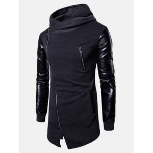 Newchic Mens Stitching Leather Fashion Hooded Tops Zip Up Casual Hoodies