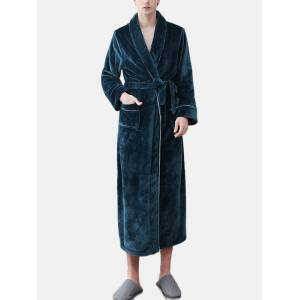 Newchic Men Flannel Winter Warm Casual Lapel Nightgown Belted Lounge Robe