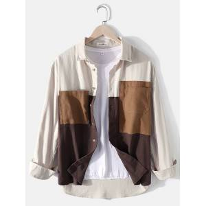 Newchic Mens 100% Cotton Colorblock Patchwork Loose Chest Pockets Long Sleeve Shirts