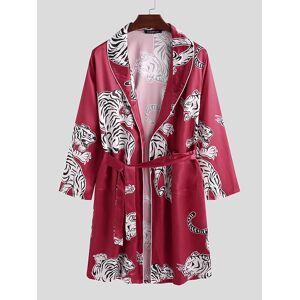 Newchic Mens Animal Tiger Print Affordable Silk Pajama Robe Shawl Collar Smooth Sleepwear