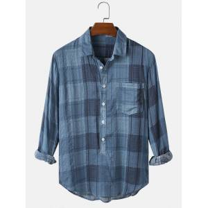 Newchic Mens 100% Cotton Plaid Designer Lapel Long Sleeve Henley Shirts With Pocket