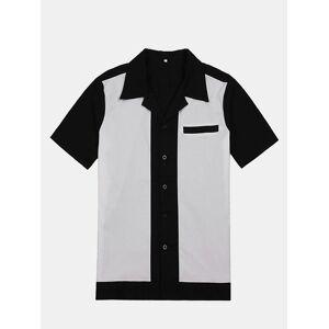 Newchic Mens Bowling Shirts Rockabilly Cotton Top Black Casual Shirt Retro Design